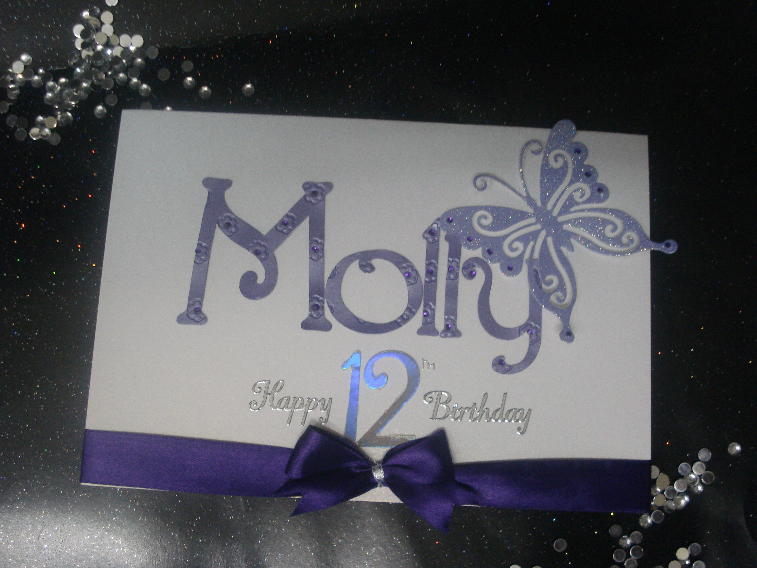 Handmade Personalised Girls 12th Birthday Birthday Cards
