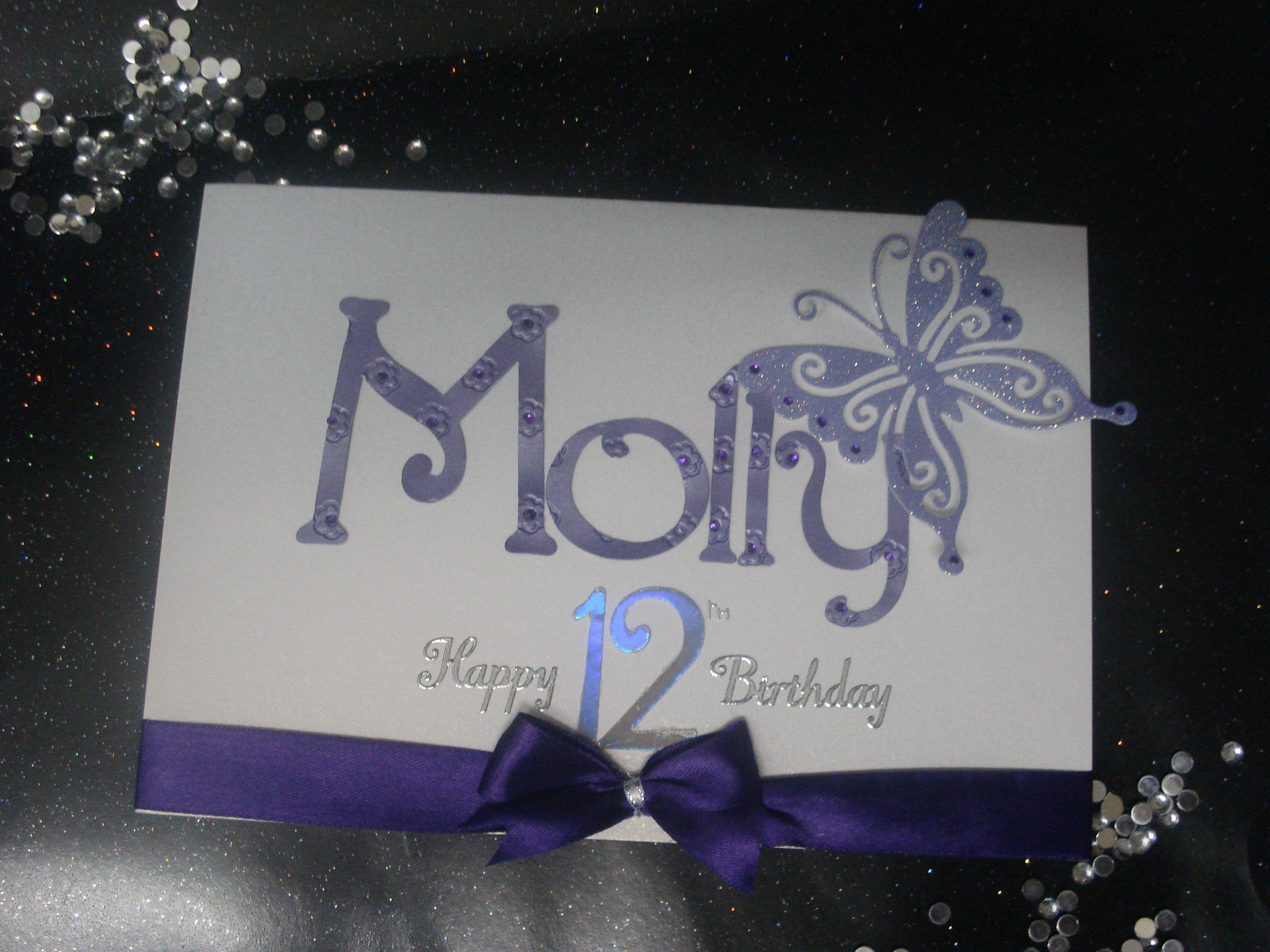 Handmade Personalised Girls 12th Birthday Birthday Cards