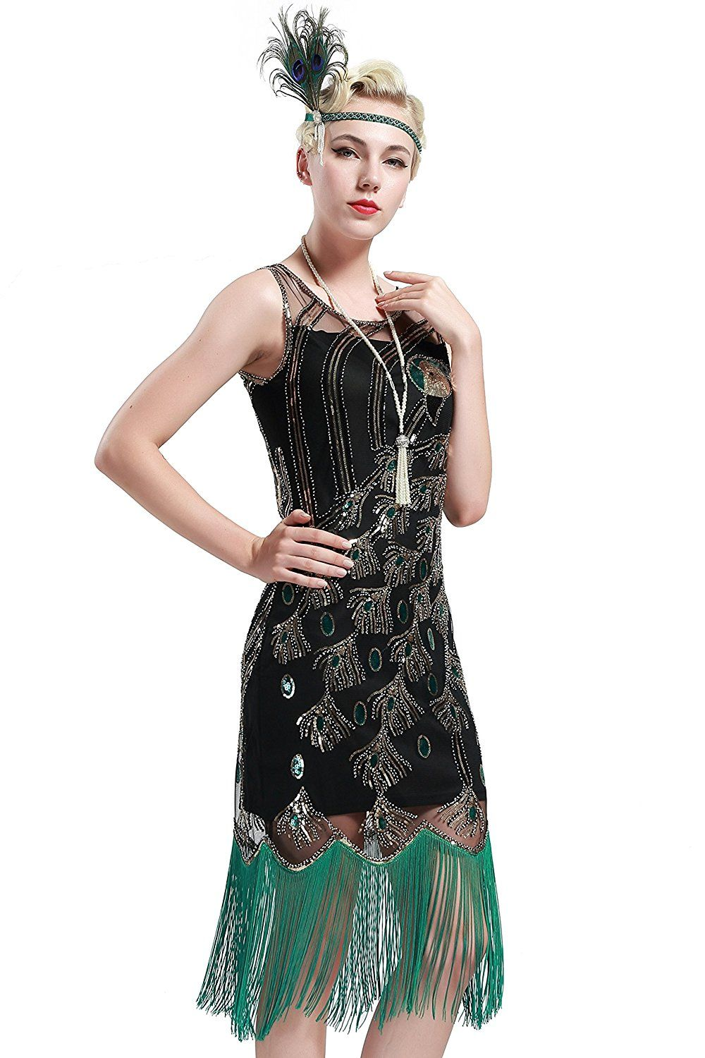 c2c967fe6d BABEYOND 20 s Vintage Peacock Sequin Fringed Party Flapper Dress at Amazon  Women s Clothing store
