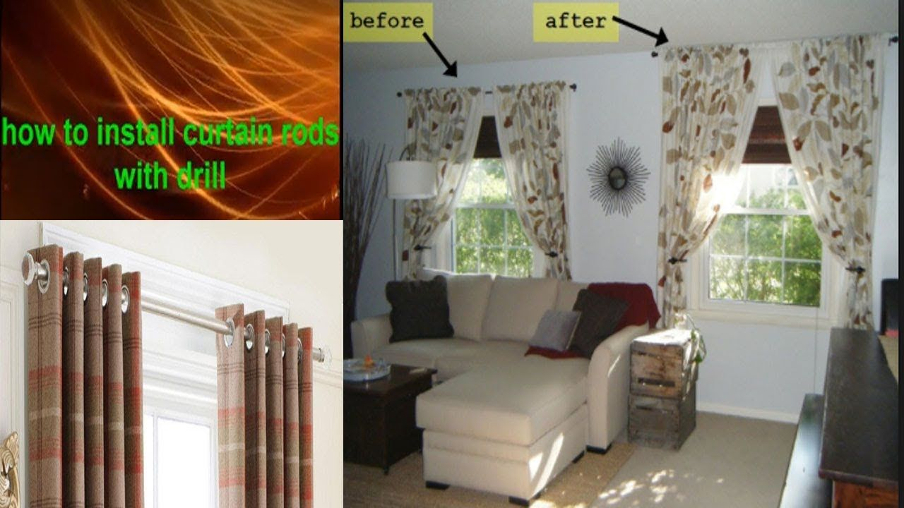 How To Hang A Curtain Rod From The Ceiling And Walls Best