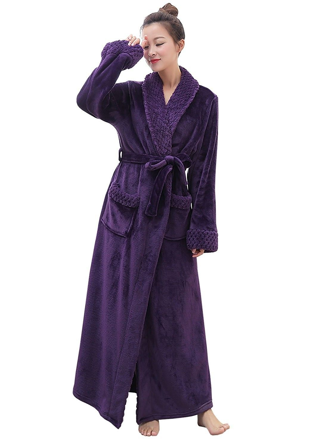 Long Bath Robe For Womens Plush Soft Fleece Bathrobes Night Robes ... f876d759d