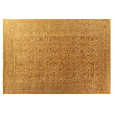 Exquisite Rugs Ziegler Hand Knotted Wool Gold Area Rug Beige