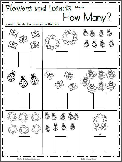 Spring Insects Free Math Worksheet for Counting to 9 Pre