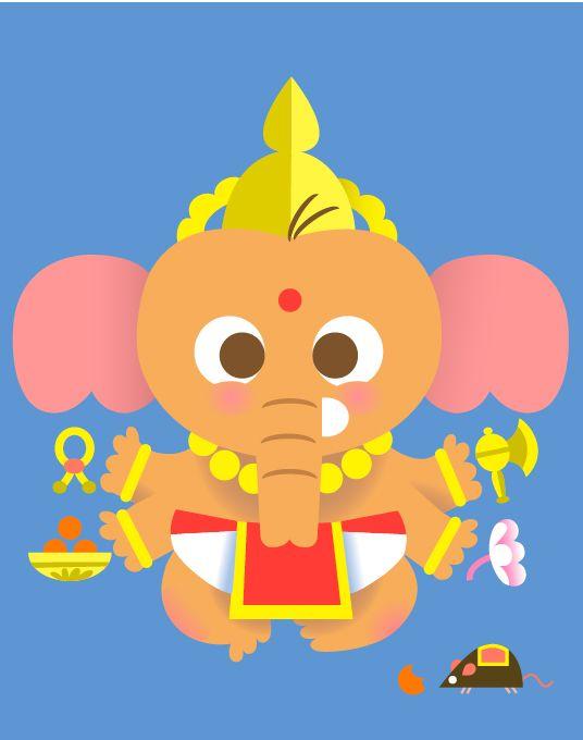 Ganesha by Sanjay Patel via kumaridesign.wordpress: A modern twist to traditional concepts of Hinduism. #Illustration #Ganesha #Sanjay_Patel