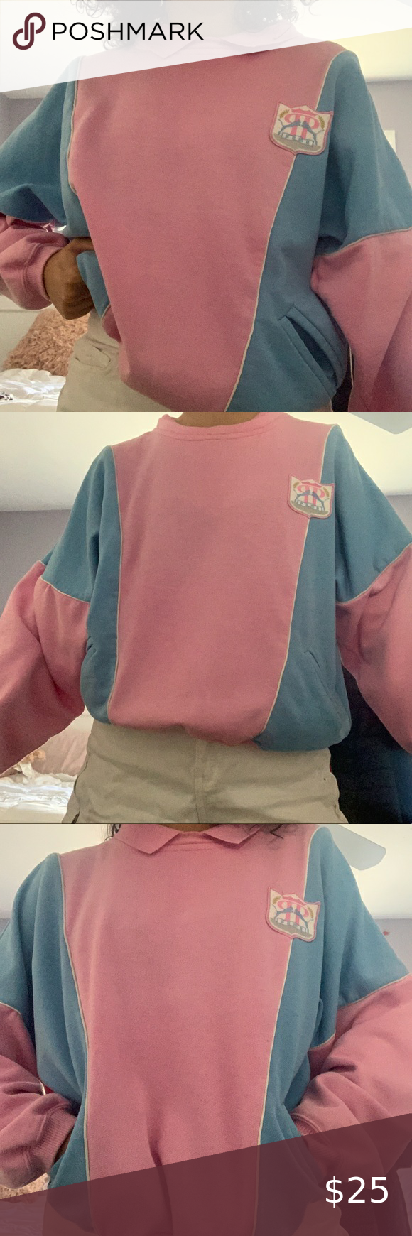 Filosófico santo Viaje  Pink & Blue Puma Collared Sweater - Cute Puma sweater, lightweight - pink &  blue - collared crewneck that can be tucked in… | Collar sweater, Blue pumas,  Pink blue