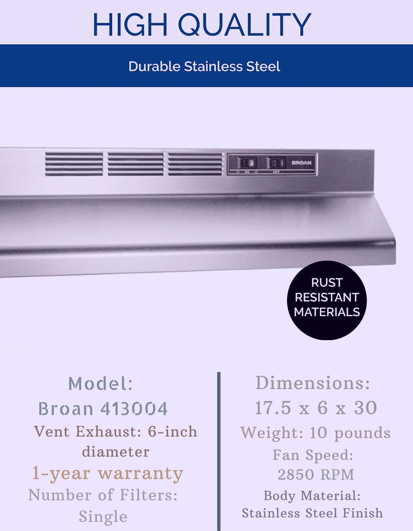 Broan Nutone 413004 30 Range Hood Single Charcoal Filter Voltage 120 V 60 Hz Ductless Range Hood Ductless Range Hood