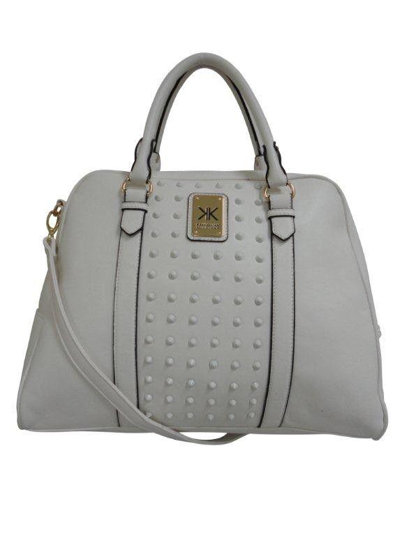Kardashian Kollection 02471 Oversized Studded Bowler Bag White