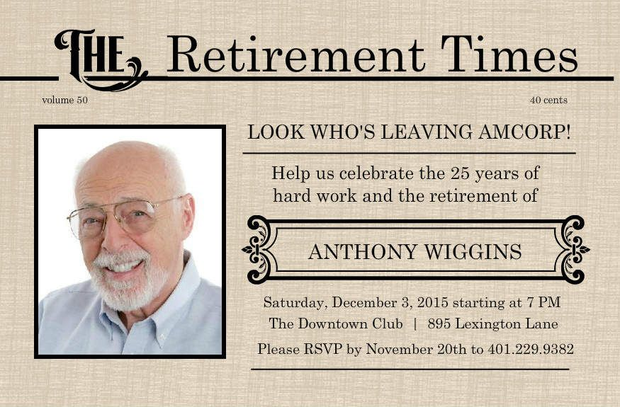 retirement flyer template free | Printable Retirement Invitations C ...