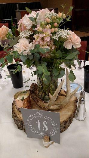 Rustic Reception Centerpiece Peach Flowers In Hobnob Jar