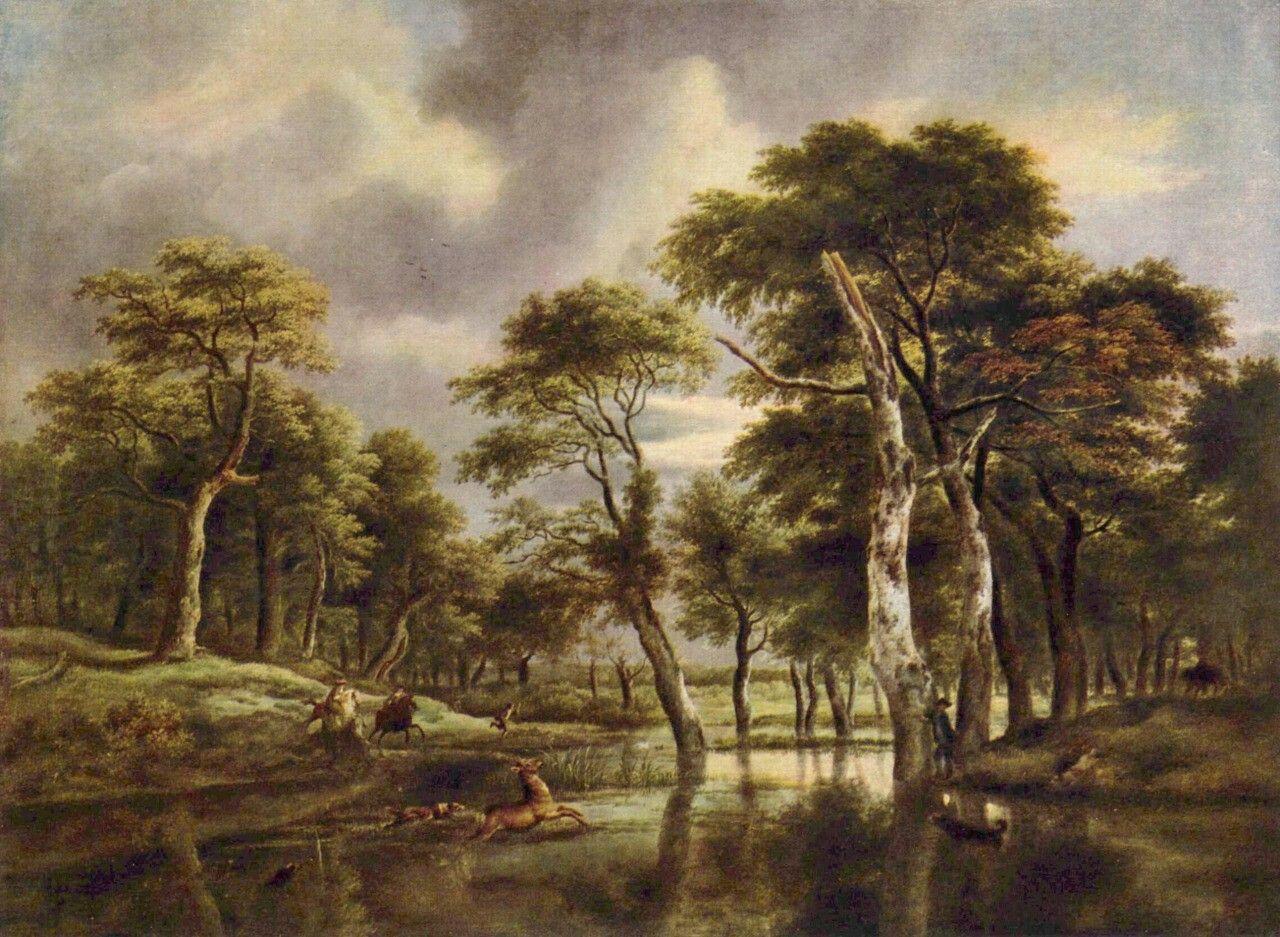 Landschaftsmalerei barock  Jacob Isaaksz. van Ruisdael. Jagd. 2. Drittel 17. Jh., Leinwand ...