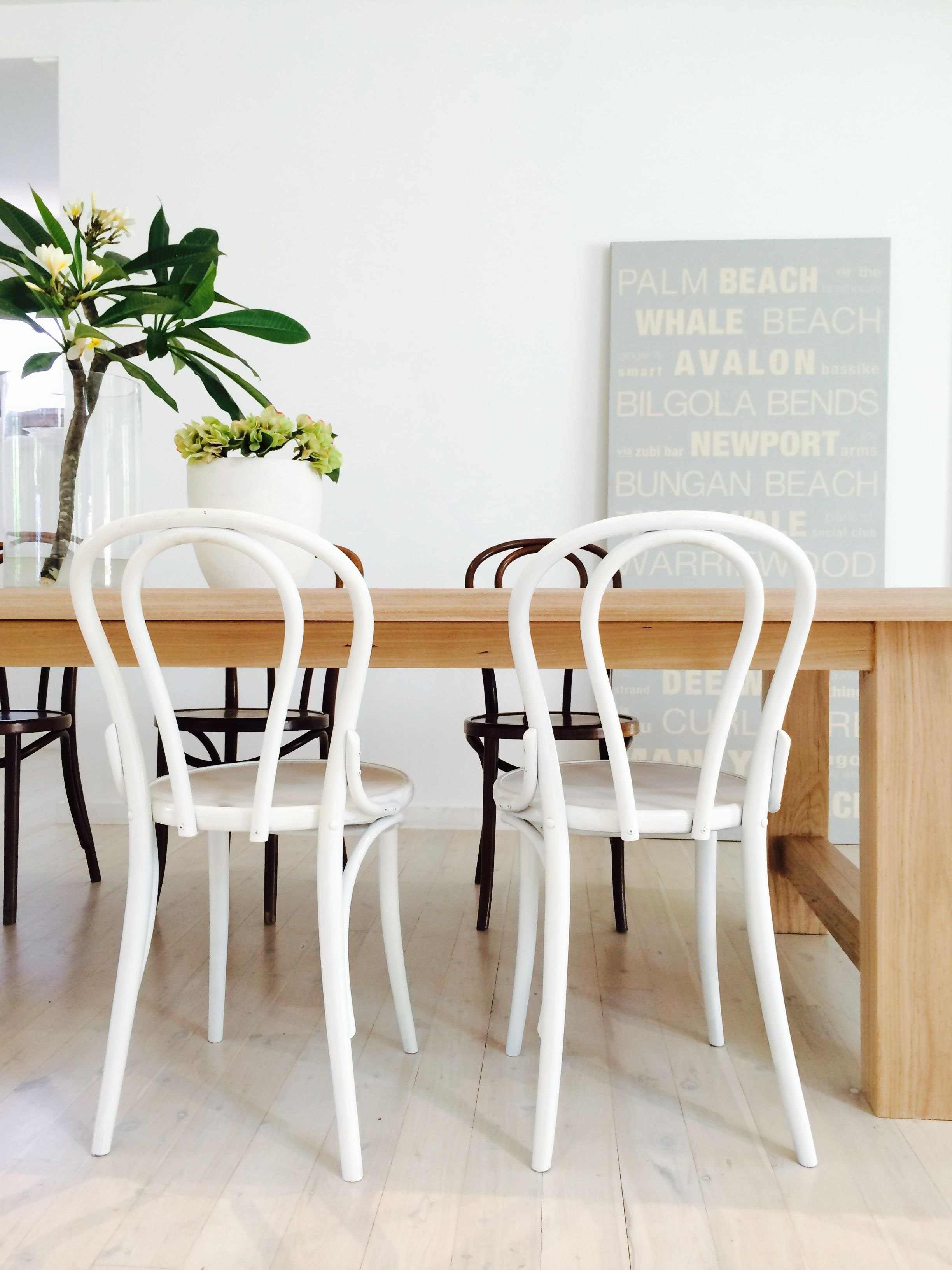 White Bentwood Chairs At Our Lime Washed Hardwood Dining Table