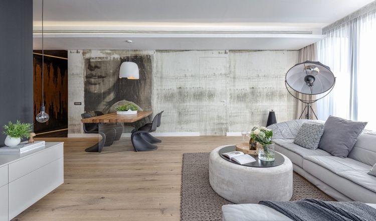 Graue Einrichtung Wohnzimmer Holzboden Eckcouch Strahler Modern