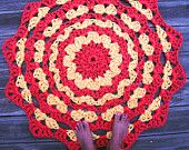"""Red and Yellow Patio Porch Cord Crochet Rug in 39"""" Circle Pattern READY TO SHIP"""