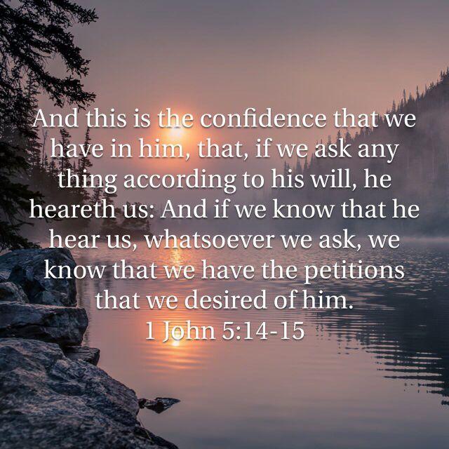 1 John 5:14-15, King James Version (KJV) | Bible verse pictures,  Scripture verses, Bible inspiration