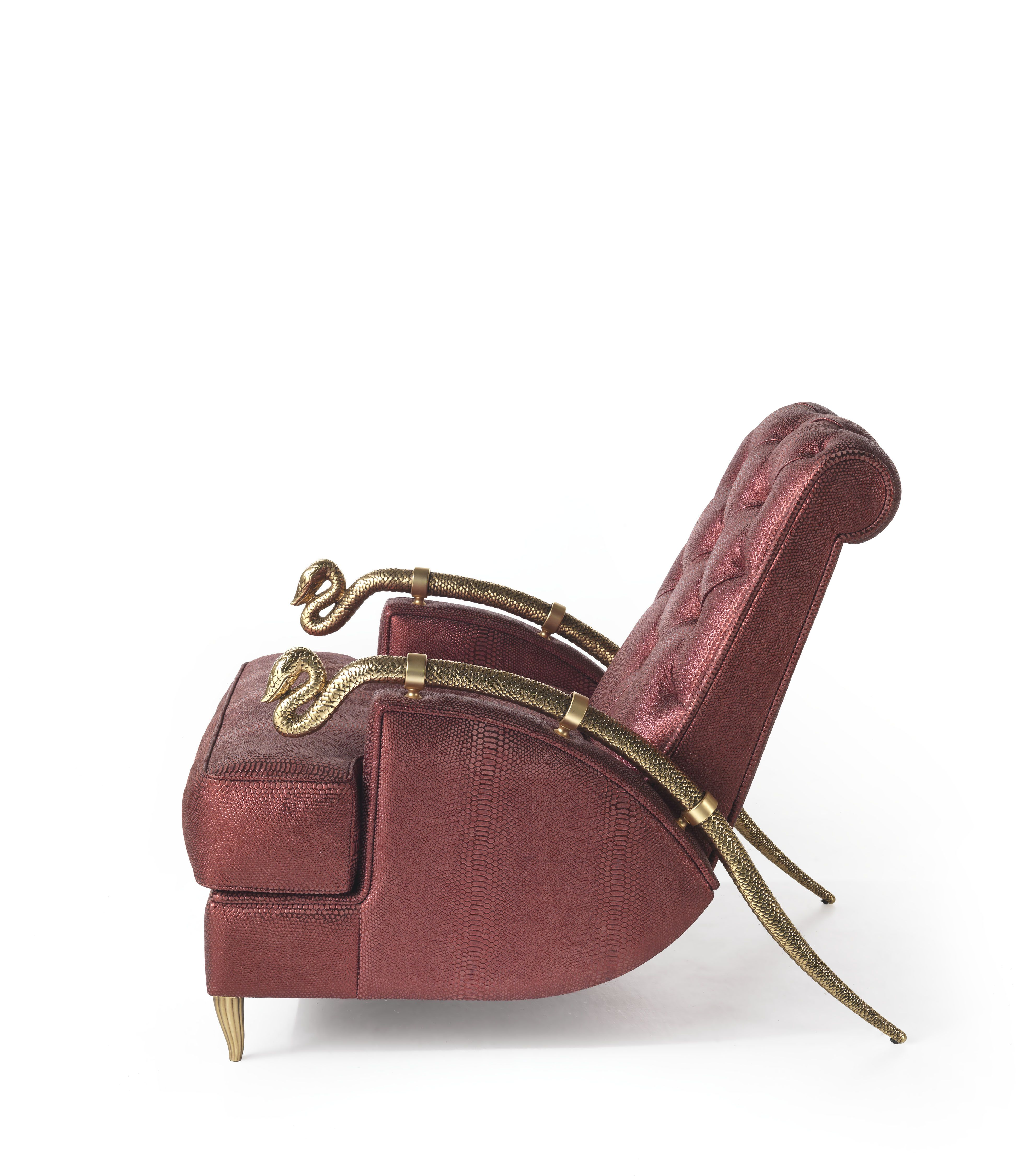 Roberto Cavalli Snake Armchair Side #FurnitureDesign #RobertoCavalliInteriors #LuxuryDesign