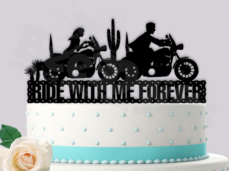 Motorcycle Couple Ride With Me Forever Wedding Cake Topper