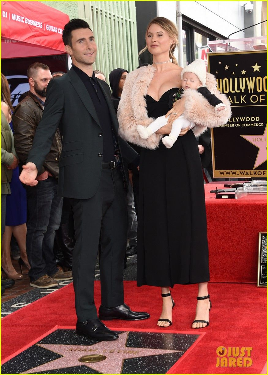 Adam Levine & Wife Behati Prinsloo Bring Baby Dusty Rose to Hollywood Walk of Fame Ceremony!