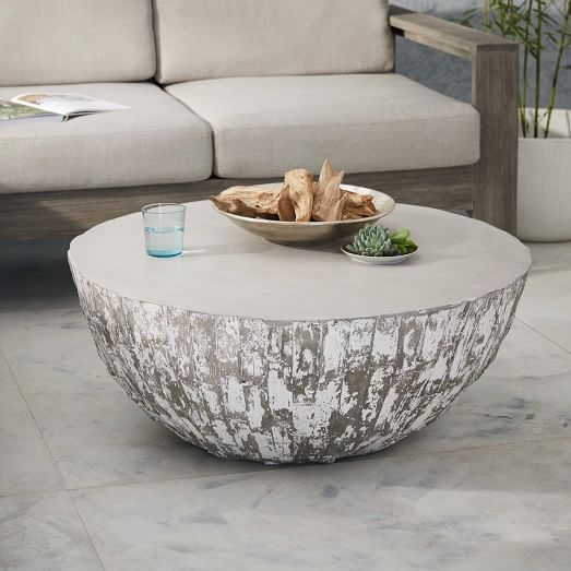 ROUND ARTISTIC COFFEE TABLE Sculpted Concrete Drum Coffee Table