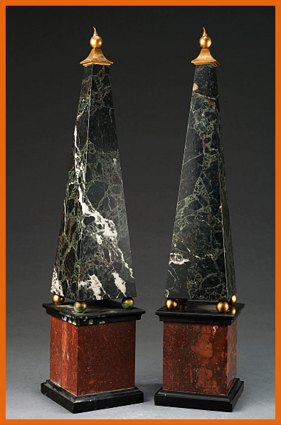 Pair Of Green Marble Obelisks With Decorative Ormolu Bronze Detail At The Top Of Each Obelisk Both Are Supported B Marble Decor Obelisk Green Marble