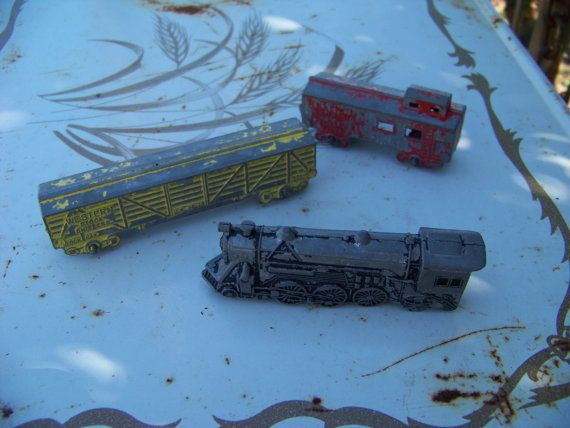 Vintage Chippy Diecast Metal Toy Train Cars by AlloftheAbove, $9.00