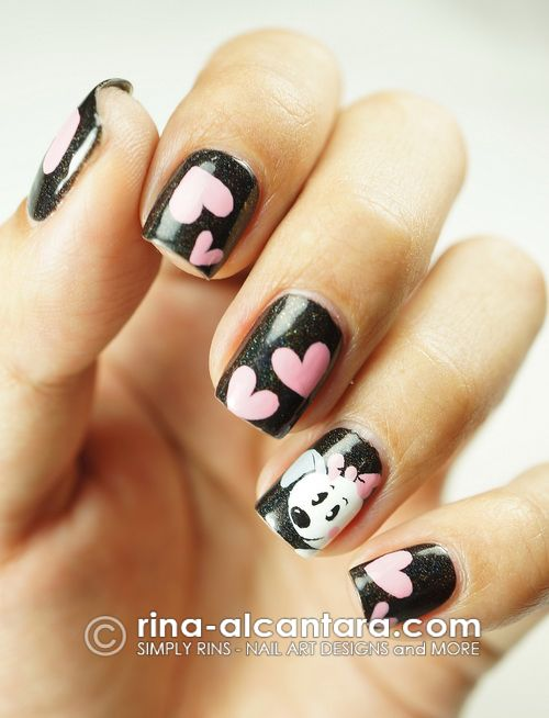 Puppy Love Nail Art Design | Puppy nails | Pinterest