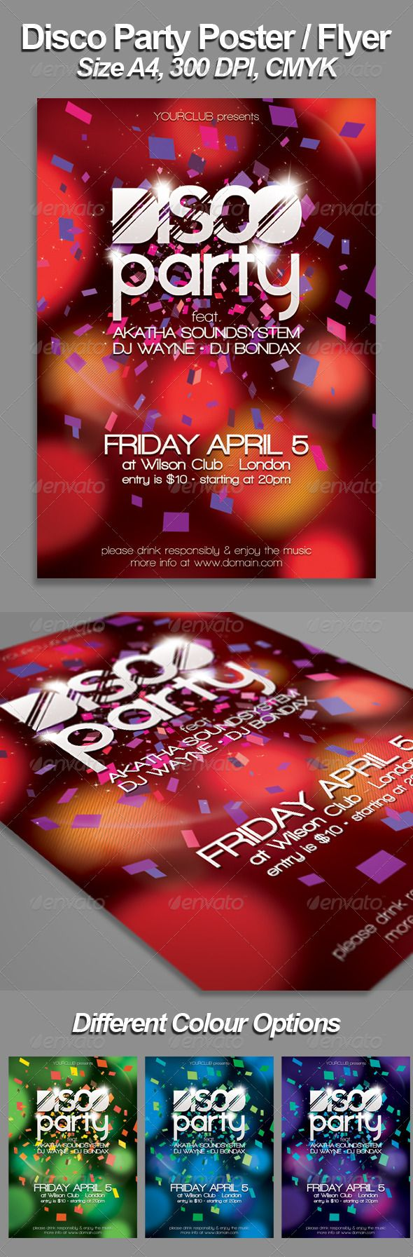 A Disco FlyerPoster Template  Template Party Poster And Print