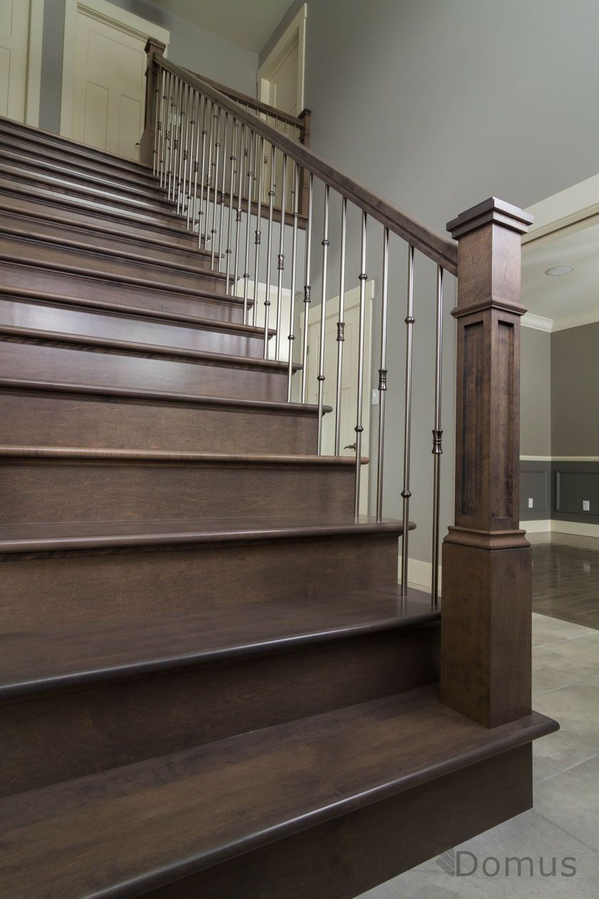 Best Dark Stained Staircase With Modern Stainless Spindles 640 x 480