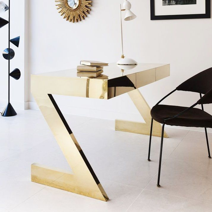 Brass Mirrored Desk, Black Chair U0026 Mid Century Modern Lamps #office  #workspace