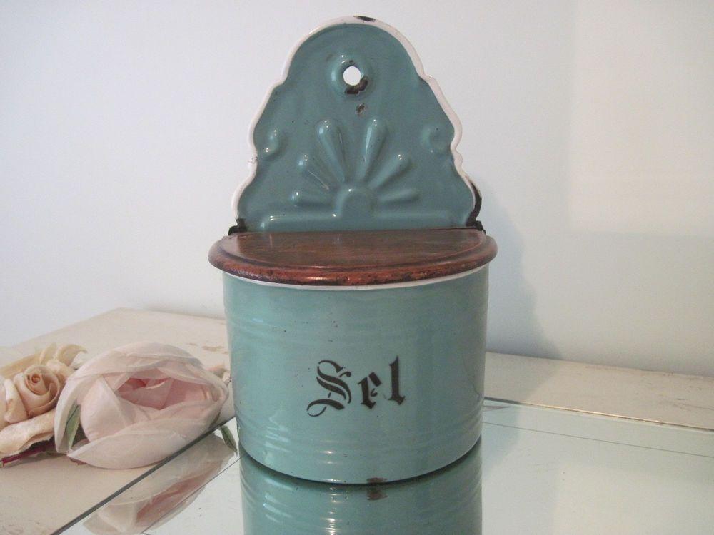 Vintage Belgian enamelware salt box.