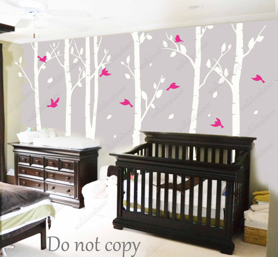 Birch Tree Wall Decal wall Sticker white tree decal Nature room ...