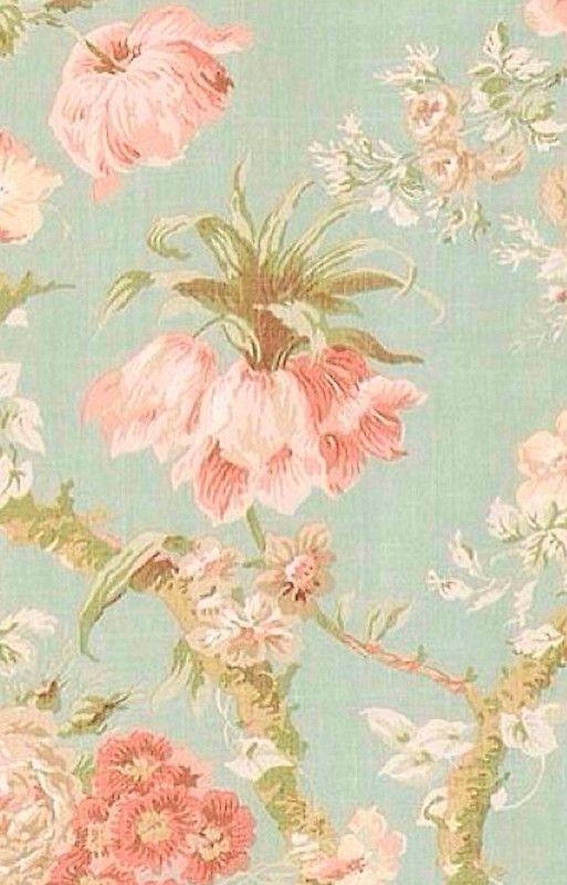 Shabby Chic Floral Antiqued Pattern Mint Pink Off White Beige Rustic Chic Elegant Victorian Vintage Dark Blue Old Wall Paper Fabric Worn Old Modern Trendy Ip Farger Tapet Vegger