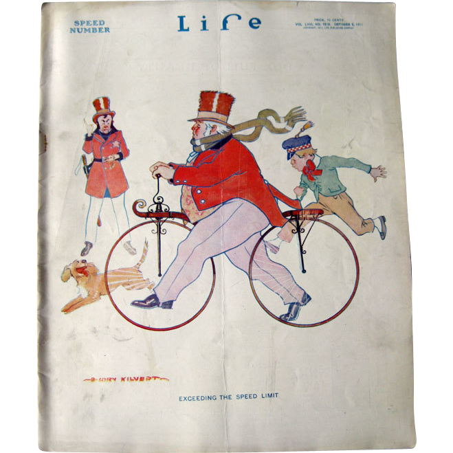 Vintage Life Magazine B Cory Kilvert Bicycle Cover October 5 1911 / from openslate on Ruby Lane
