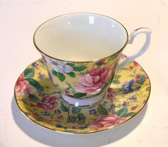 Duchess Teacup And Saucer English Bone China Chelsea Garden