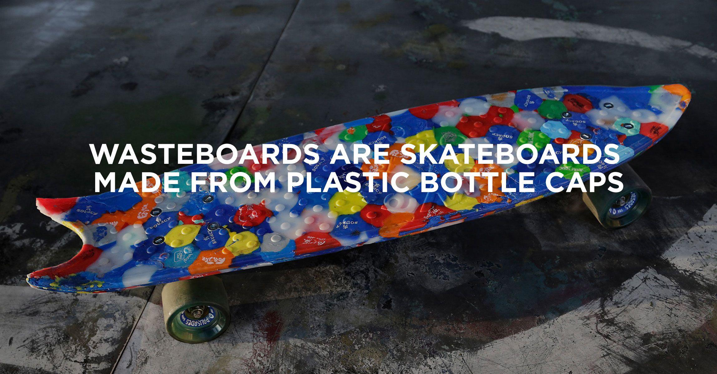 Wasteboards Skateboards From Waste Plastic Bottle Caps Plastic Skateboard Plastic Bottles