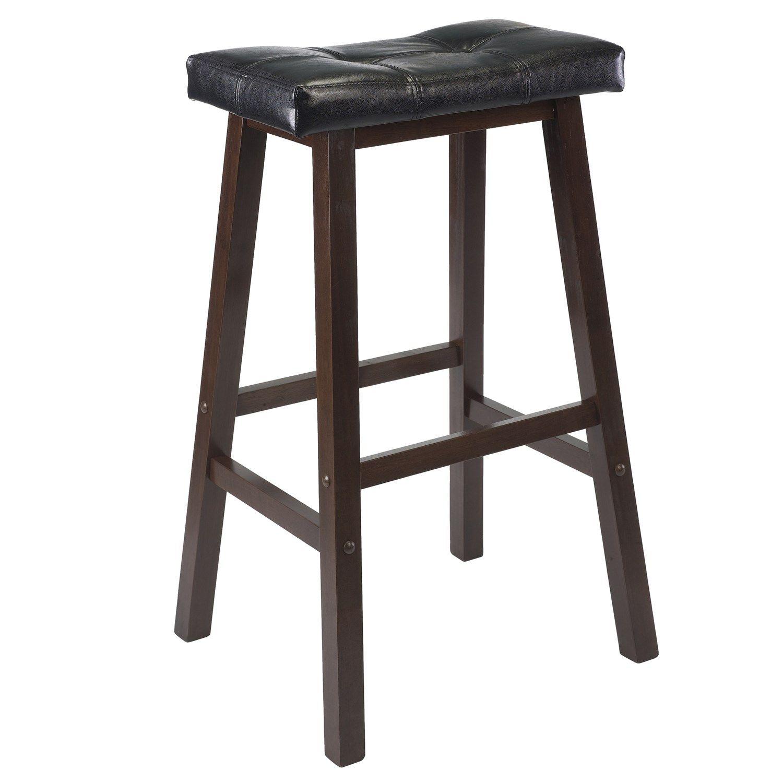 "Winsome 94069 Mona 29"" Cushion Saddle Seat Bar Stool in Antique Walnut"