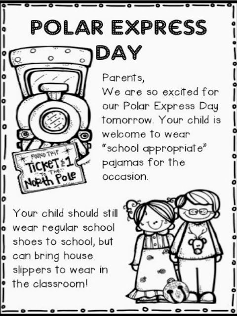 Polar Express Day - Parent Note