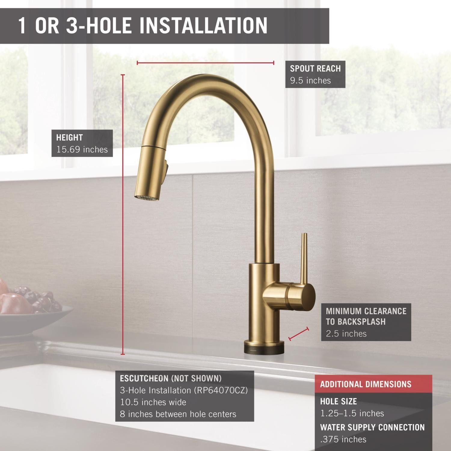 Delta Faucet 9159t Cz Dst Trinsic Single Handle Pull Down Kitchen Faucet Featuring Touch2o Technology Champagne Bron Delta Faucets Faucet Touch Kitchen Faucet