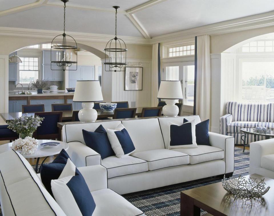 Hampton S Style Beach House Living Room Blue And White Living