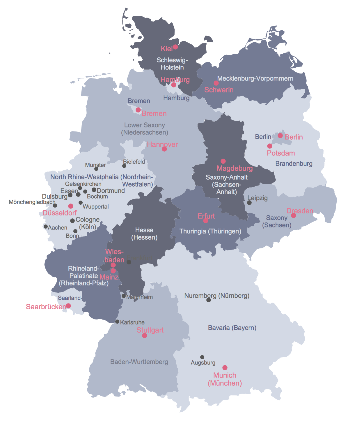 Example 1 Political Map of Germany This diagram was created in