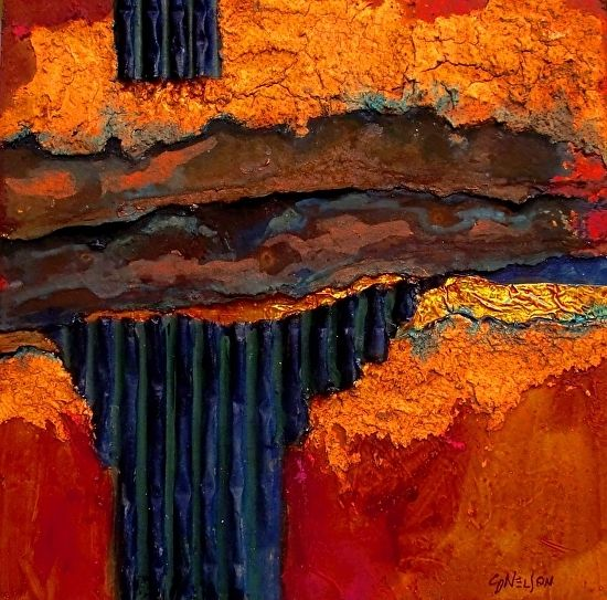 Iron Strata1000, 12078 by Carol Nelson mixed media ~ 8 x 8