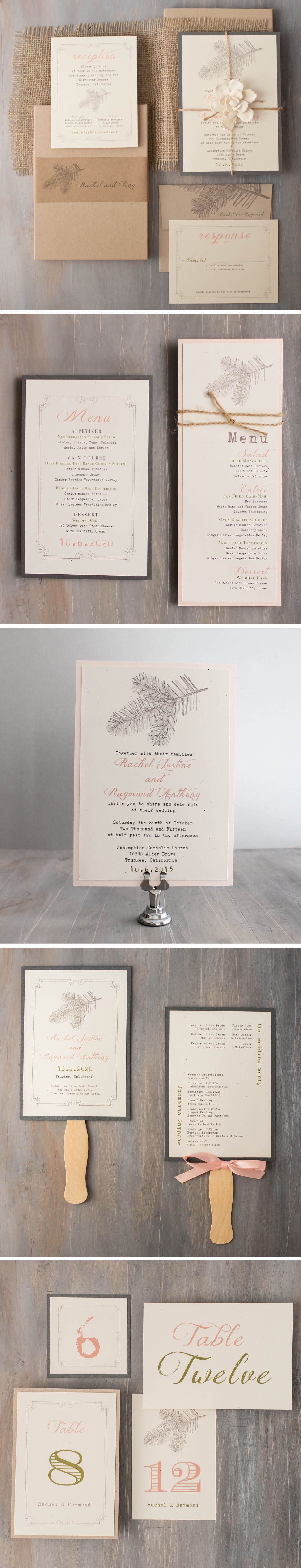 Rustic inspired blush, taupe & moss green wedding invitations ...