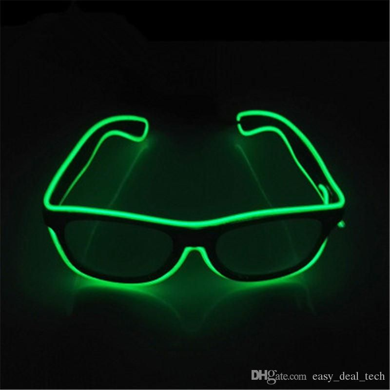 3388099c4675 2019 LED Glow Sunglass Glasses Fashion Neon Light Up Glow Rave Costume  Party Bright SunGlasses Party