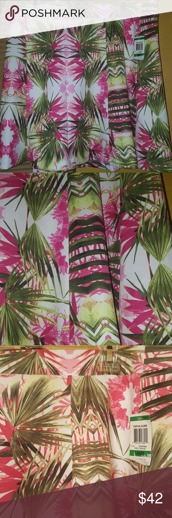 Tropical Bloom flirty skirt by INC Tropical Fun in the air with this lovely item. Flirty skirt made of 94% polyester and 6% spandex  Purchased for a friend, didn't fit. Skirts