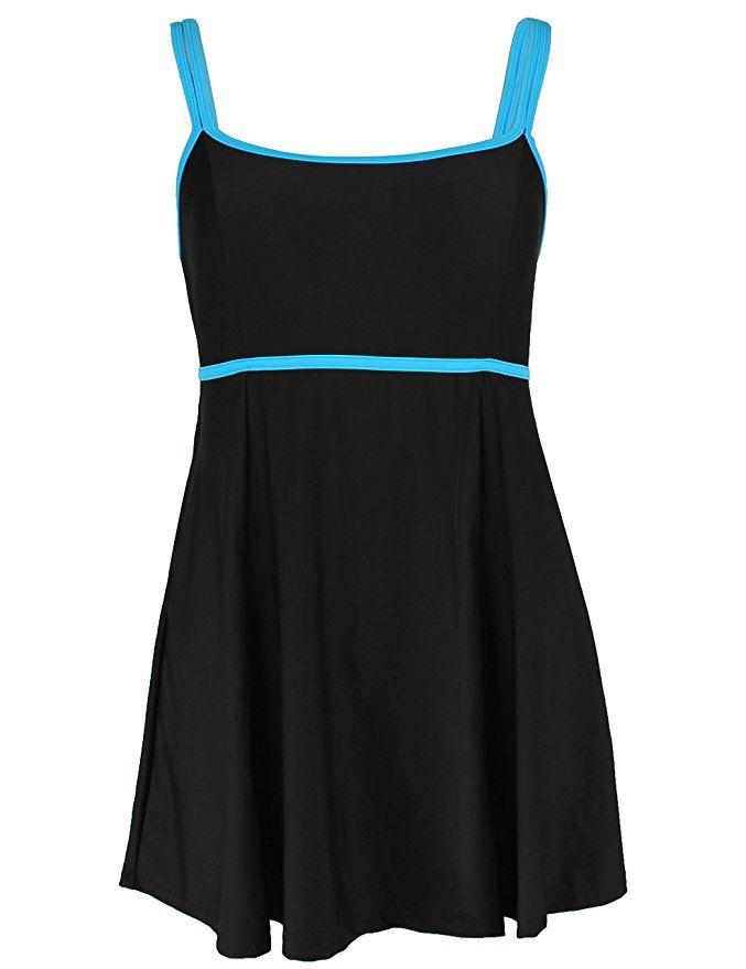 3d29f211ba5e6 Hilor Women's Plus Size Color Contrast Swimdress Skirtini One Piece SwimSuit  at Amazon Women's Clothing store: