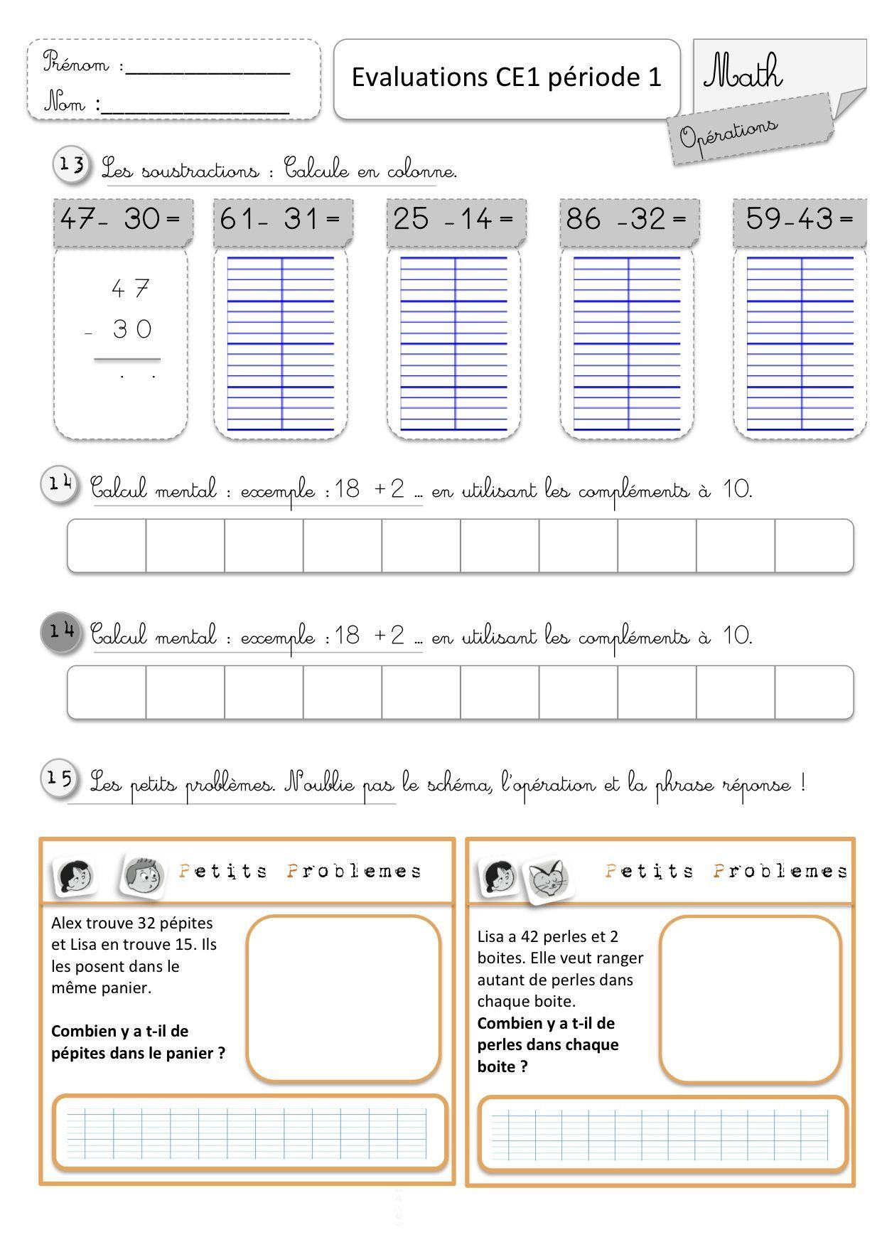 Evaluations ce1 1er semestre education cole evaluation ce1 evaluation math ce1 et ce1 - Evaluation multiplication ce2 a imprimer ...