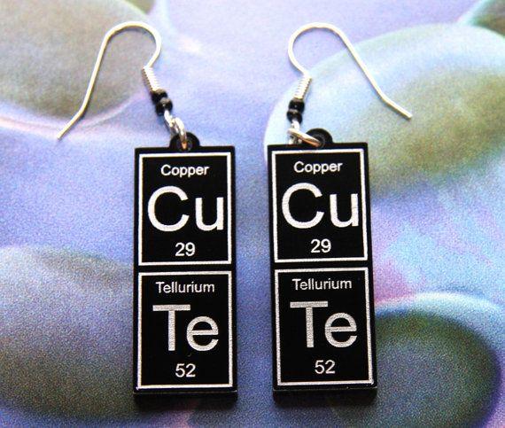 CuTe   periodic table earrings