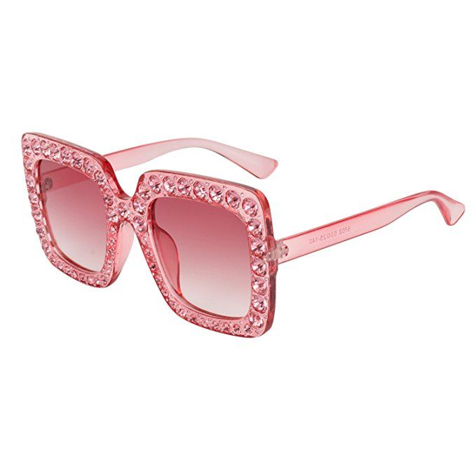 c1aaa58231 ROYAL GIRL Sunglasses For Women Oversized Square Luxury Crystal Frame Brand  Designer Fashion Glasses (Pink
