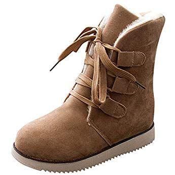38bf3b1ab257a5 Bottine Femmes Plates De Neige Boots Bottes Fourees à Lacets Femme Chic  Compensé en Daim Hiver