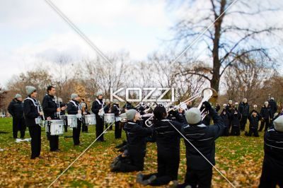 view of marching band with musical instruments preparing for christmas celebration. - Image of marching band with trumpet and drums preparing for Christmas celebration.
