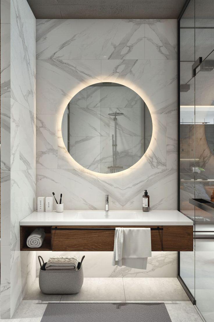 Weißer Marmor in modernem Bad #contemporarykitcheninterior